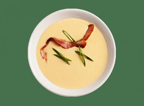 Сырный суп с беконом и гренками
